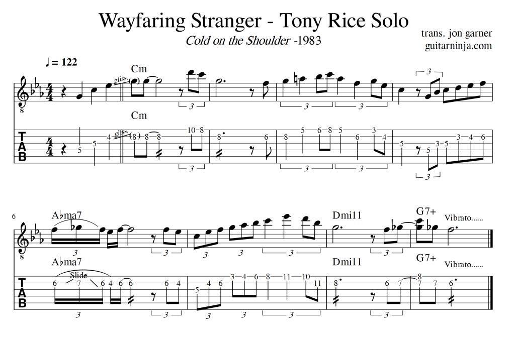Wayfaring Stranger – Tony Rice Solos – Standard and TAB – jon g music